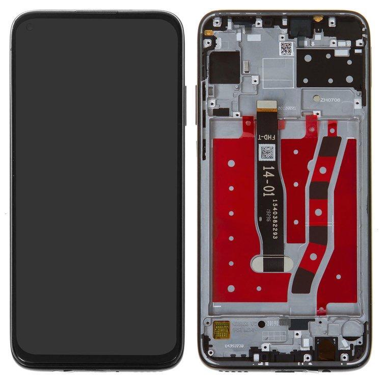 Дисплей (экран) для Huawei P40 Lite JNY-L01A с сенсором (тачскрином) и рамкой серебристый Оригинал
