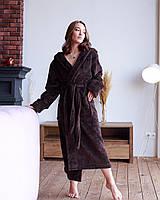 Халат женский махровый длинный Шоколадный