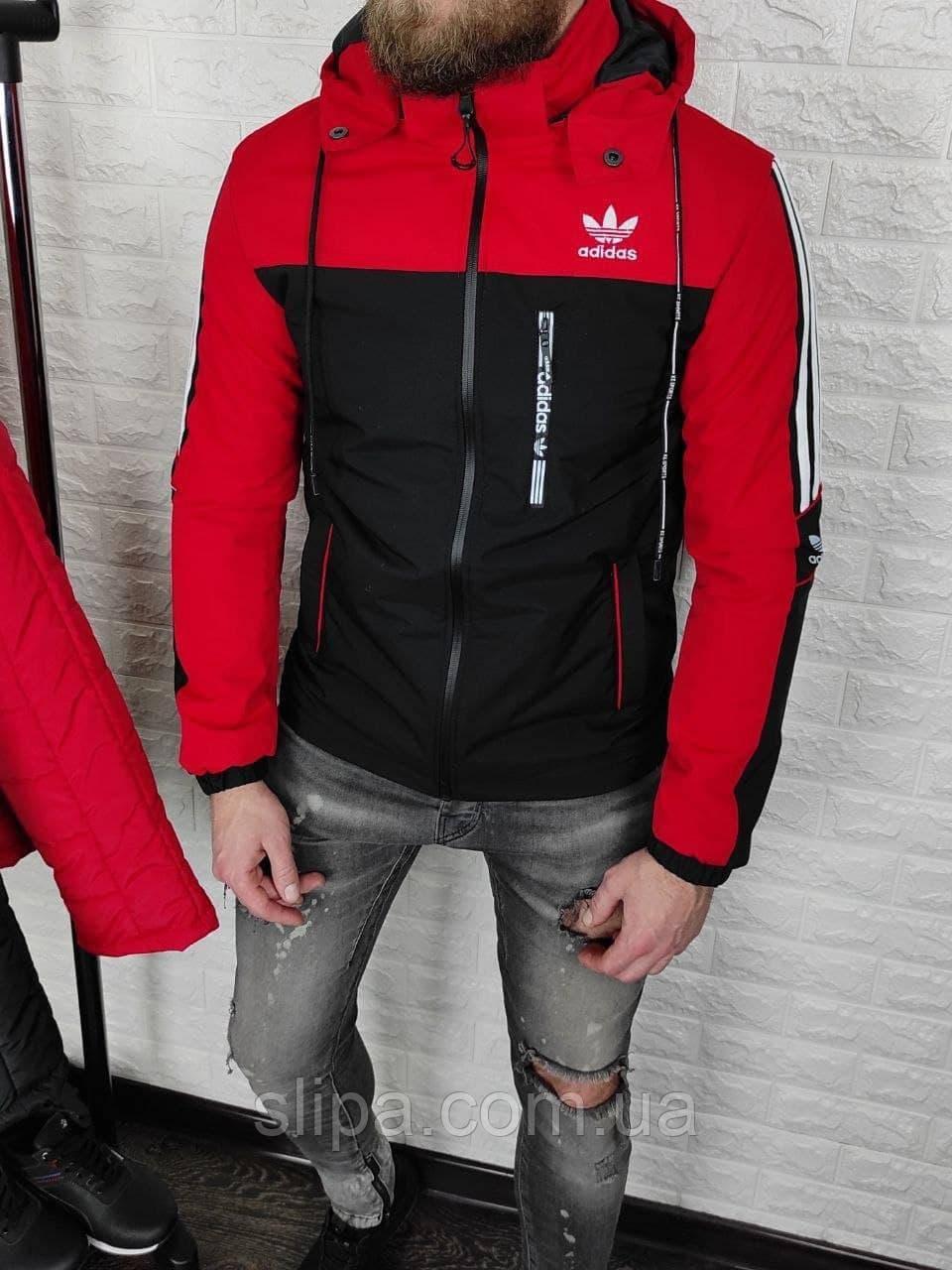 Мужская утеплённая ветровка в стиле Adidas чёрная с красным, съёмный капюшон