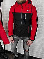 Мужская утеплённая ветровка в стиле Adidas чёрная с красным, съёмный капюшон, фото 1