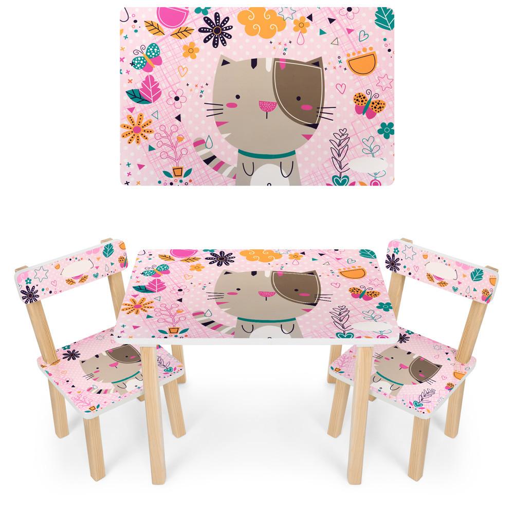 Детский деревянный столик со стульчиками 501-5 Кошка