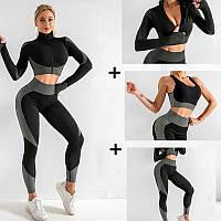 Спортивный женский костюм для фитнеса 3 предмета. Фитнес костюм тройка - лосины, топ, рашгард, S (черный)