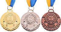 Медаль спортивная с лентой AIM d-5см C-4842 1-золото, 2-серебро, 3-бронза (металл, 25g)