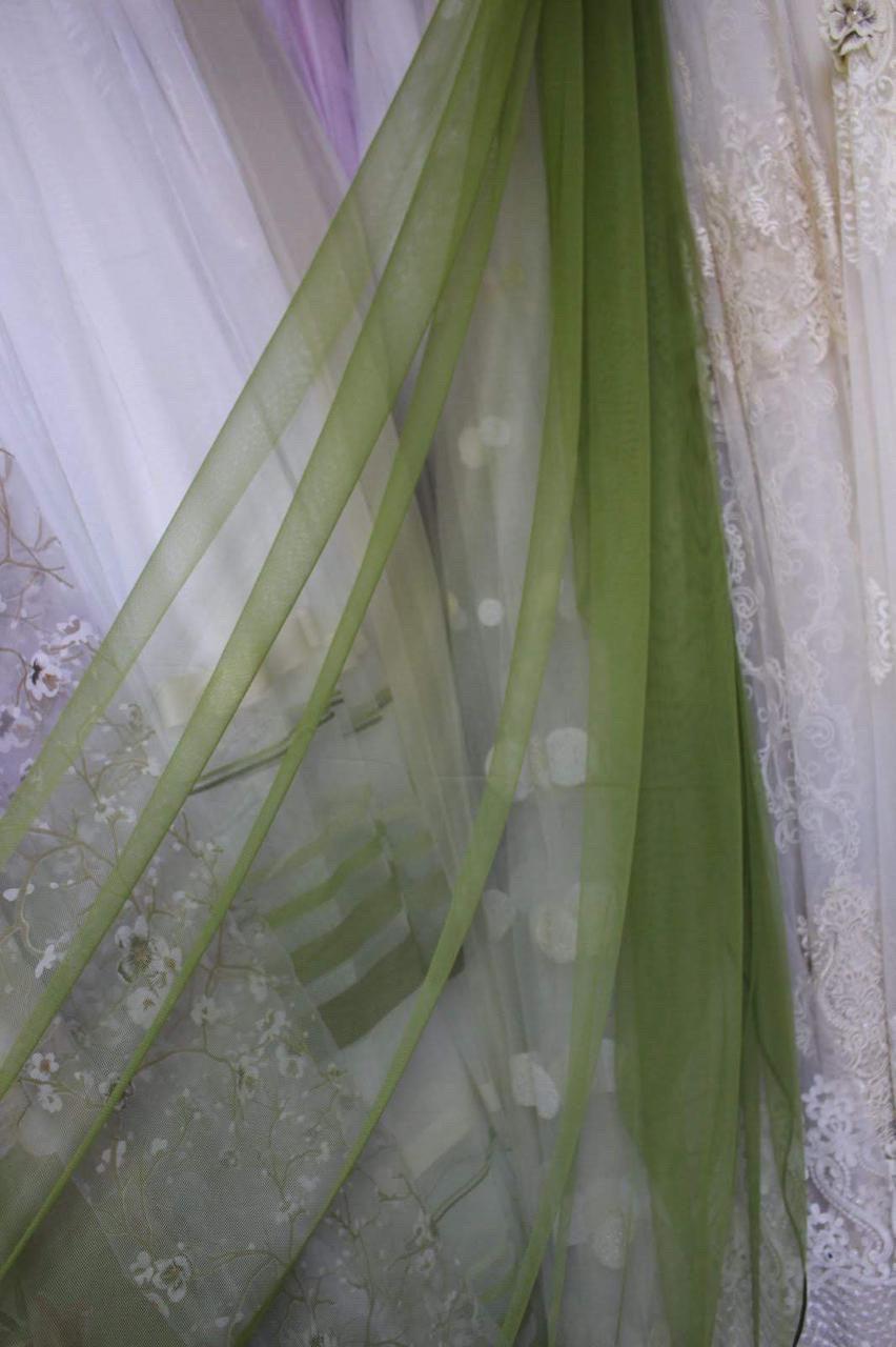 Тюль фатин зеленого цвета однотонная в зал, спальную, на веранду