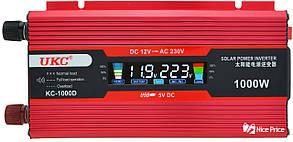 Перетворювач UKC авто інвертор 12В-220В 1000W LCD KC-1000D + USB Red (2812)