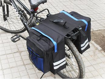 Велосумка на багажник. Сумка на багажник велосипеда общим объемом 27L. Цвет черный с синими вставками