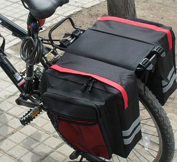 Сумка на багажник велосипеда. Велосумка на багажник для велосипеда общим объемом 27L. Цвет черный с красным