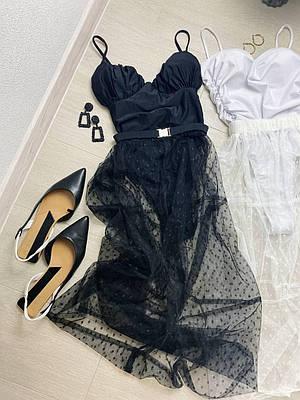 Женская пляжная юбка сеточка в горох MAGDALENA black