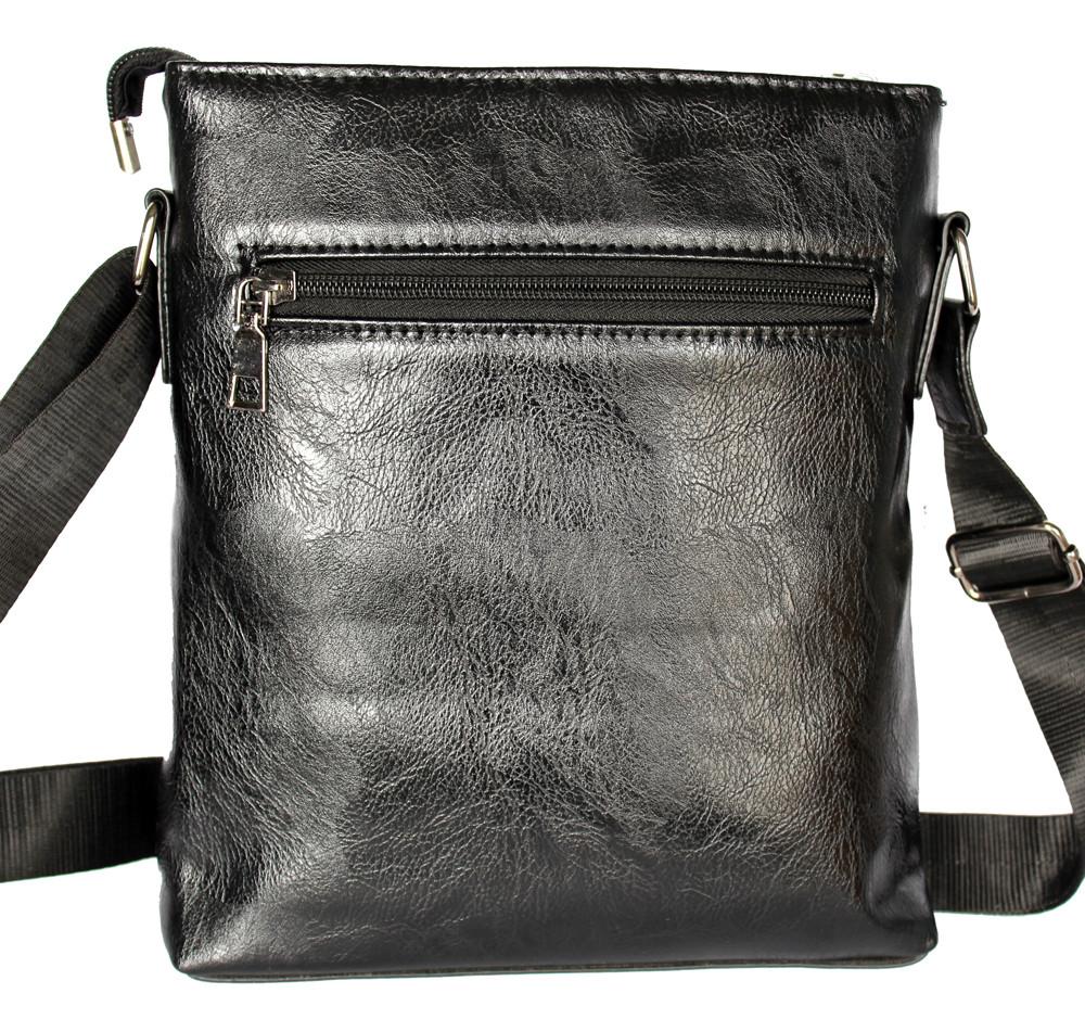 Мужская сумка черного цвета с синими вставками (54264)