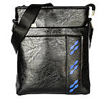 Мужская сумка черного цвета с синими вставками (54264), фото 2