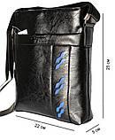 Мужская сумка черного цвета с синими вставками (54264), фото 3