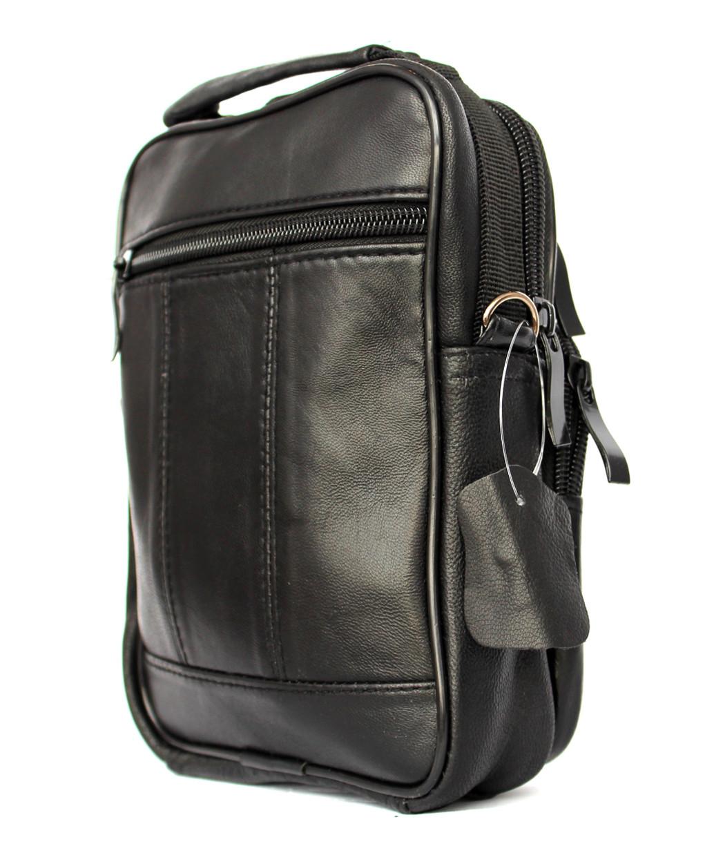 Кожаная сумка для мужчин вместительная черная (8655)