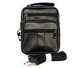 Кожаная сумка для мужчин вместительная черная (8655), фото 2