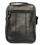 Кожаная сумка для мужчин вместительная черная (8655), фото 4