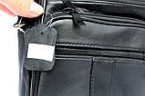 Кожаная сумка для мужчин вместительная черная (8655), фото 6