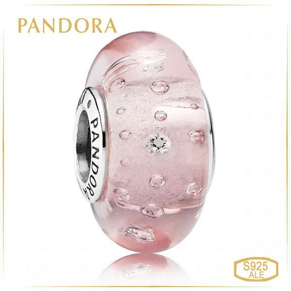 Пандора Підвіска-шарм Рожеве муранське скло Pandora 791615CZ