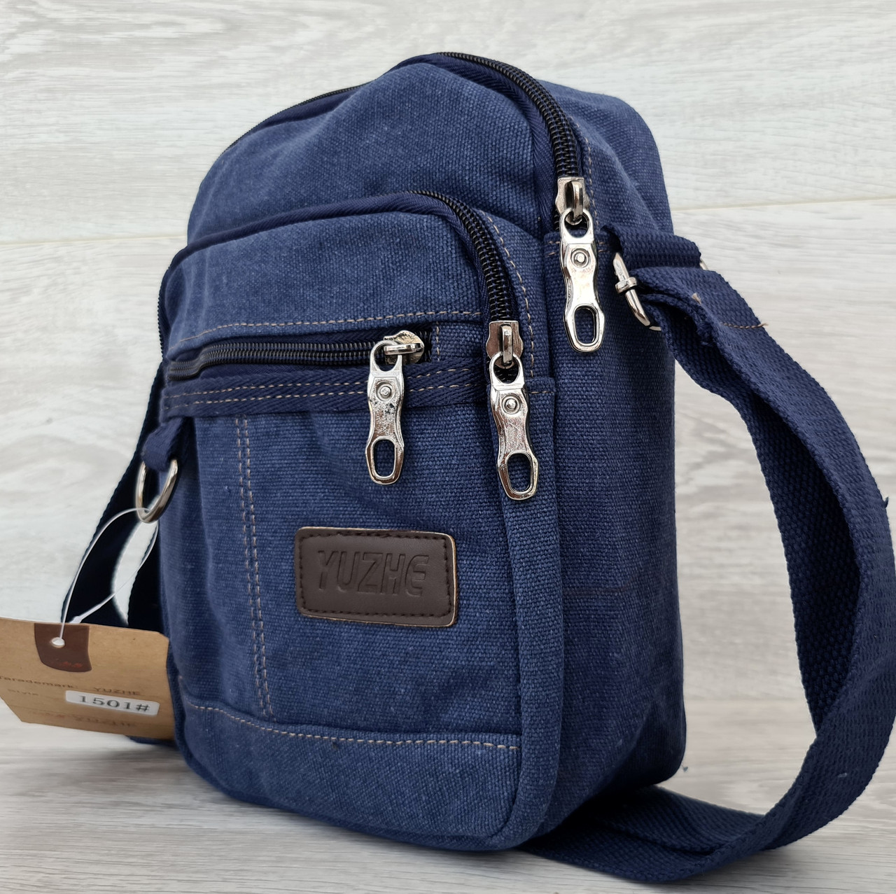 Стильная мужская спортивная сумка тканевая синего цвета (151501сн)