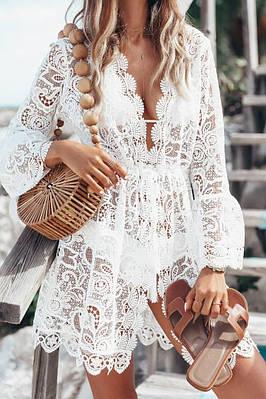 Женское пляжное кружевное платье накидка KARINA white