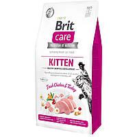 Brit Care Cat GF Kitten HGrowth & Development корм для котят (курица и индейка) 0,4кг
