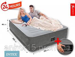 Надувне ліжко двоспальне Intex 64414 (152-203-46 см) з електронасосом