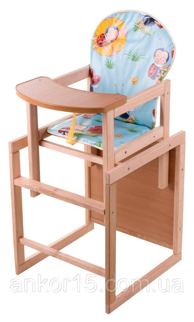 Стільчик для годування-трансформер дитячий дерев'яний, забарвлення для хлопчиків.