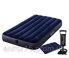 Надувной матрас Intex 64757 с подушкой и ручным насосом