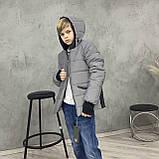 Светоотражающая куртка - пуховик зимняя подростковая на мальчика короткая из рефлективной плащевки, 140-170, фото 6