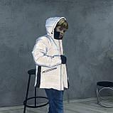 Светоотражающая куртка - пуховик зимняя подростковая на мальчика короткая из рефлективной плащевки, 140-170, фото 7