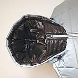 Светоотражающая куртка - пуховик зимняя подростковая на мальчика короткая из рефлективной плащевки, 140-170, фото 10