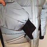 Светоотражающая куртка - пуховик зимняя подростковая на мальчика короткая из рефлективной плащевки, 140-170, фото 8