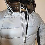 Светоотражающая куртка - пуховик зимняя подростковая на мальчика короткая из рефлективной плащевки, 140-170, фото 9