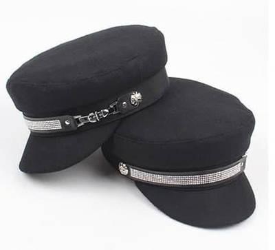 Жіноча кепка з фетру з камінцями WISH GIRL black