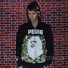 Мужская Худи с капюшоном Bape x Puma кофта с акулой