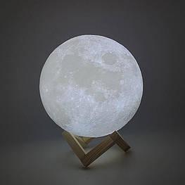 Великий настільний світильник з пультом на акумуляторі 18 см Magic 3D Moon Light RGB Місяць