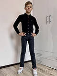 Черная рубашка с красными пуговицами для мальчиков и подростков, фото 2