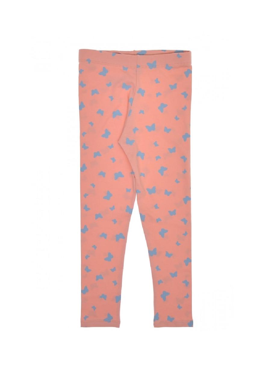 Лосины детям для девочки с принтом бабочки розовые