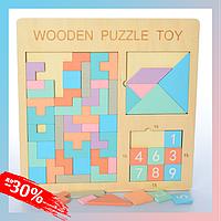 Деревянная головоломка 3в1 Детская Развивающая игра для Детей с Цифрами, Блоками и Фигурами Пазл
