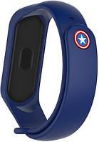 Сменный ремешок для фитнес трекера Xiaomi Mi Smart Band 5/6 Superhero Captain America Blue