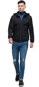 Чорна чоловіча молодіжна осінньо-весняна куртка модель 38399 розмір 46 (S)