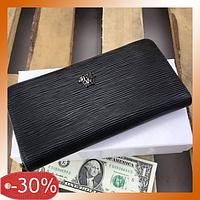 Кожаный Кошелек Versace Клатч-портмоне вместительный из Натуральной Кожи Черный бумажник для мужчин