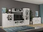 Комод со стеклом Мир Мебели Эшли 2Д1В 119,5×143×37,5 сосна водевиль, фото 2