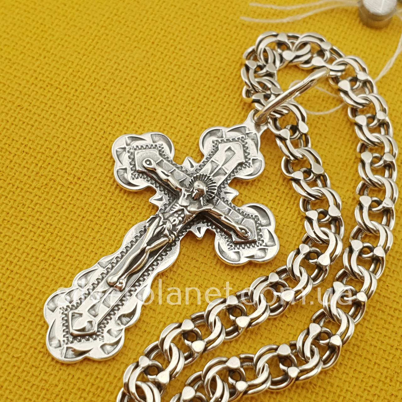 Комплект!!! Срібна ланцюжок чоловіча з хрестиком. Чоловічий кулон і ланцюг на шию. Срібло 925