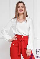 Однотонная блузка с широкими рукавами   018В/01