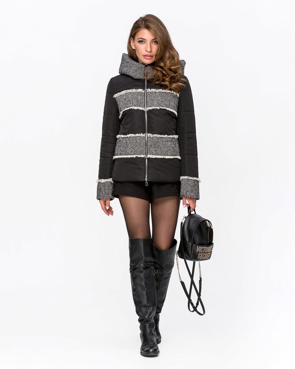 Стильна жіноча комбінована куртка з твидом 44-54 р