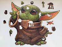 Большой деревянный пазл малыш Йода формата A3