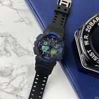Красивые мужские часы кварцевые наручныеCasio G-Shock GA-100 Black-Black-Blue