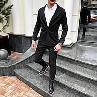 Костюм классический мужской «Top» в точку черный   Комплект Пиджак + Брюки повседневный ЛЮКС качества
