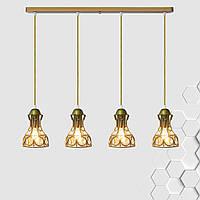 Підвісна люстра на 4-лампи RINGS-4 E27 золото, фото 1