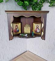 Угловая навесная полка под иконы из массива дерева от производителя деревянная полка в угол (цвет на выбор)