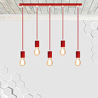 Підвісний світильник на 5 ламп CEILING-5 E27 червоний, фото 1